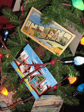 Vintage postcards combined with vintage Christmas lights.