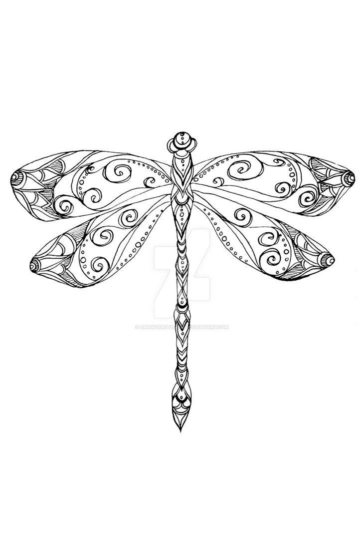 תוצאת תמונה עבור dragonfly Mandala Dragonfly Drawing