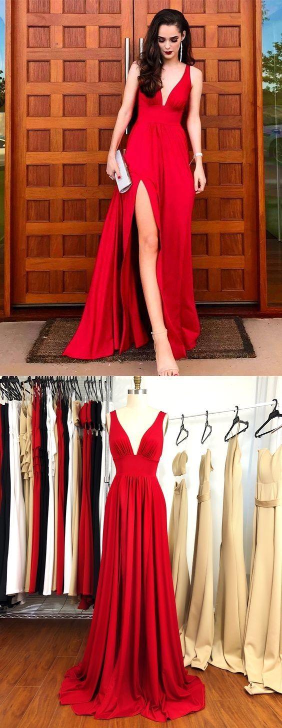 Classy aline v neck red satin long prom dresses with side split