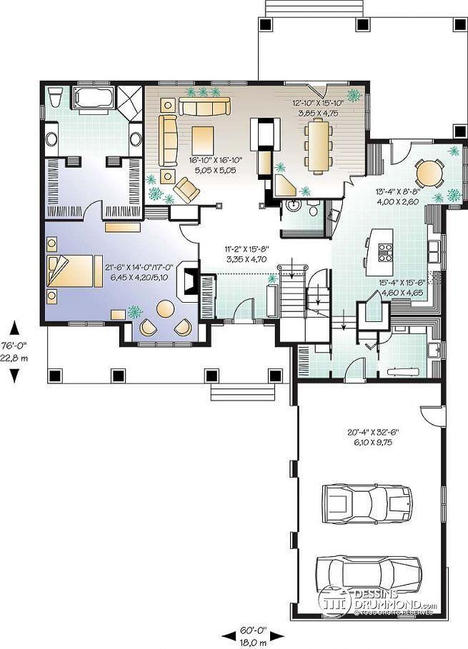 Plan de Rez-de-chaussée Maîtres avec foyer, 4 à 5 ch., 4 s. bain, garage triple, foyer, espace boni - Millia