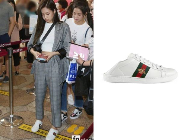 170826 BLACKPINK Jennie Wears Gucci Sneaker at Haneda Airport - KdramaStyle
