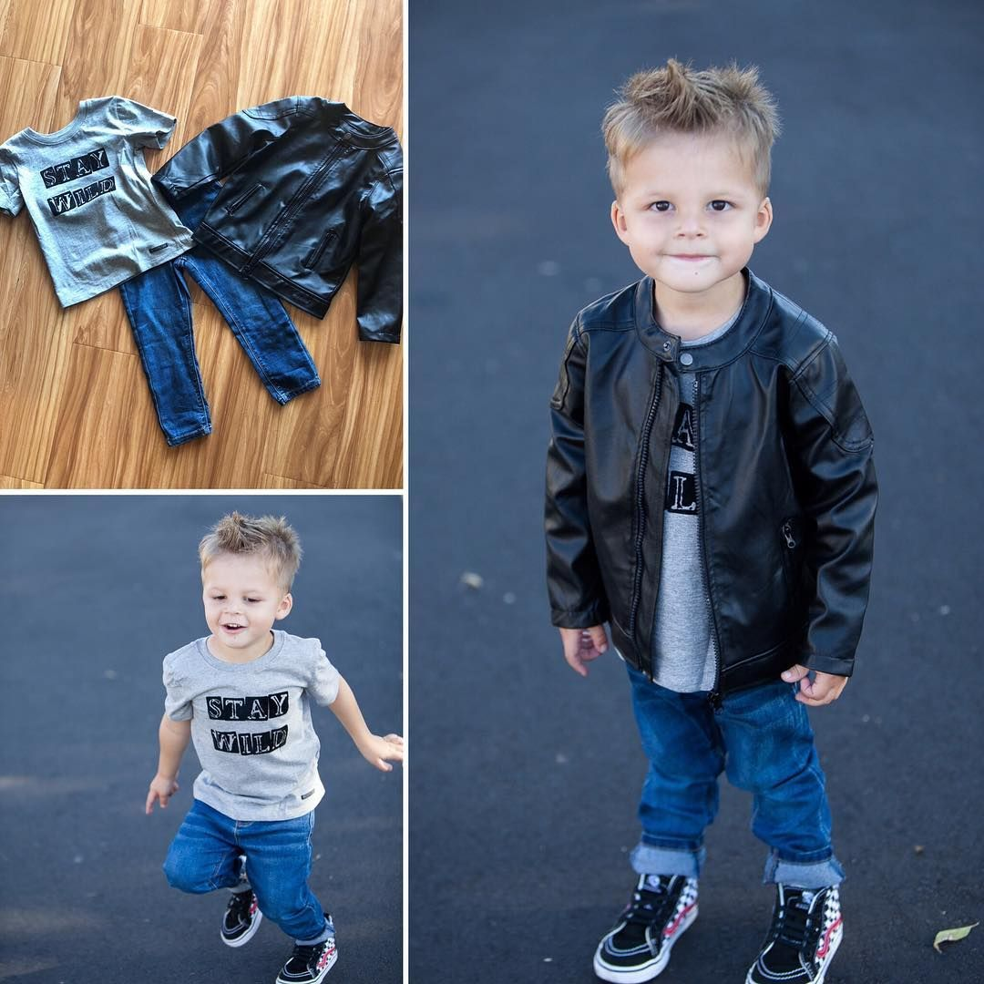 Lil Dude 3 Piece Set Includes Faux Leather Jacket Stay Wild Shirt And Jeans By Hudson Kids Toddler Boy Fashion Faux Leather Jackets Leather Jacket [ 1080 x 1080 Pixel ]