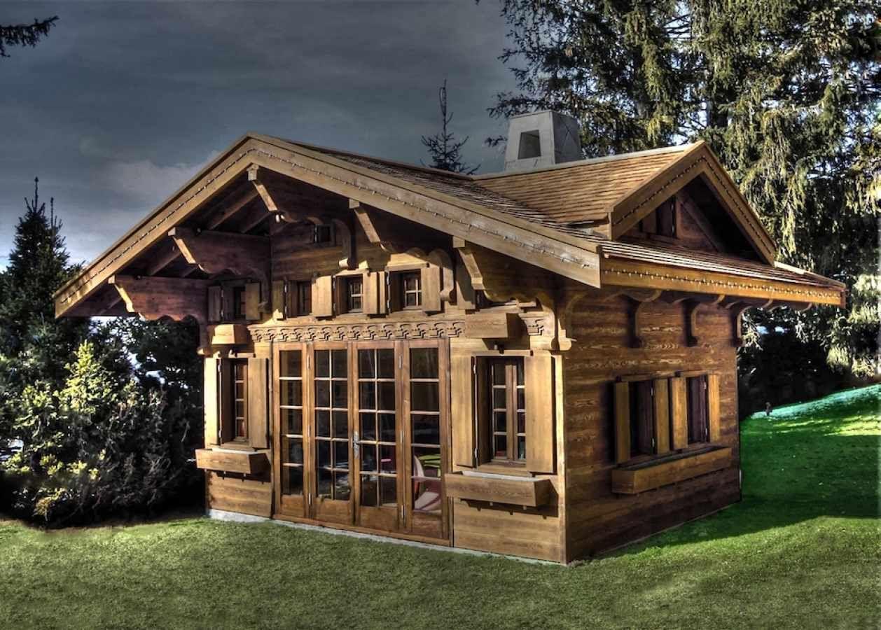 Main View Swiss Chalet Miniature Replica Copy Childrens Wooden - Swiss home design