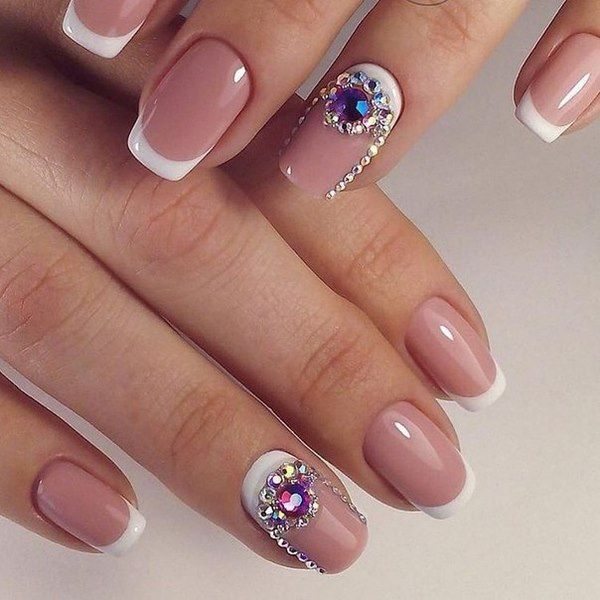 french nail art with crystals moon nail ideas #crystalnails #nails ...