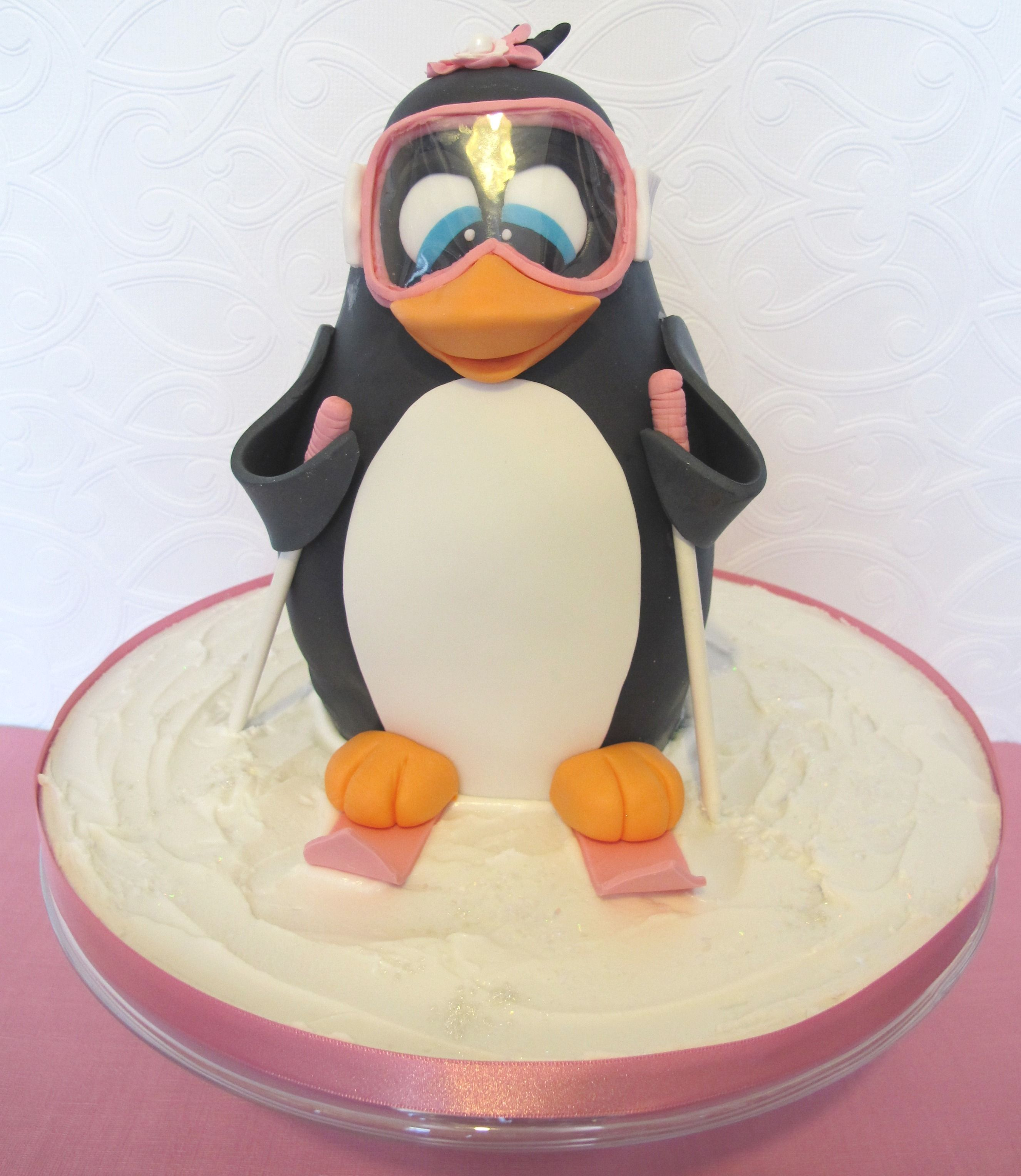 3D Skiing Penguin Cake - 3D Skiing penguin cake-all edible except ...
