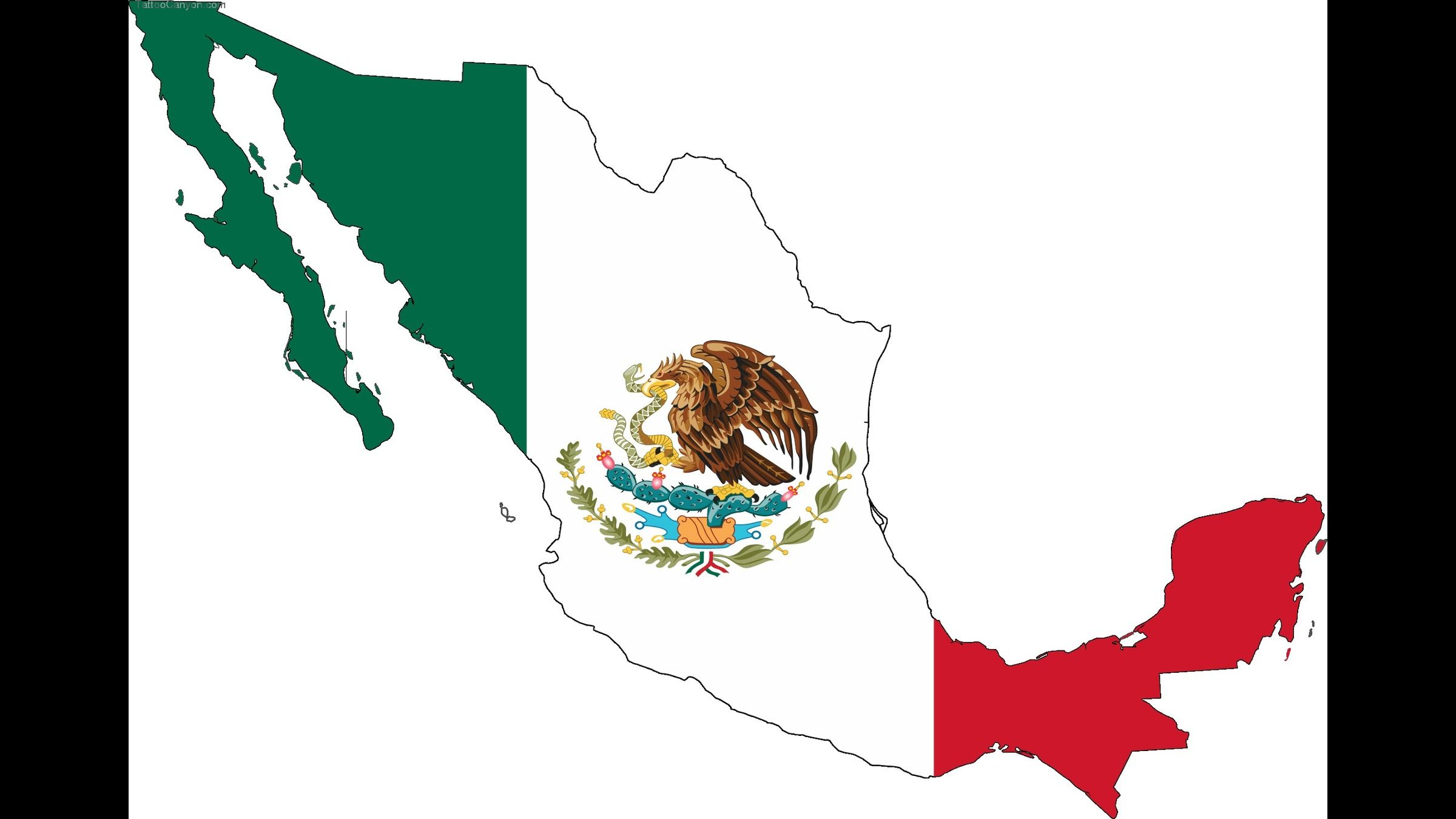 Mexico Flag Map Tattoo Tatoo Openclipartorg Commons