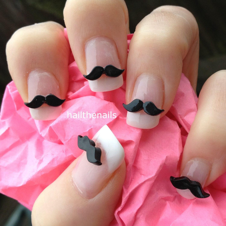 10 x black moustache 3d nail art decoration for natural for 3d acrylic nail art decoration