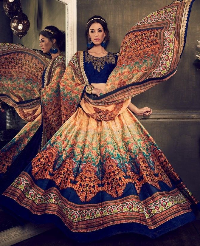 4eaa2e40d2 Buy Royal blue color digital print party wear lehenga in UK, USA and ...