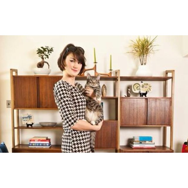 At Home Modern founder, Bobbie Ann Tilkens-Fisher in her home with Lincoln the cat! www.athomemodern.com