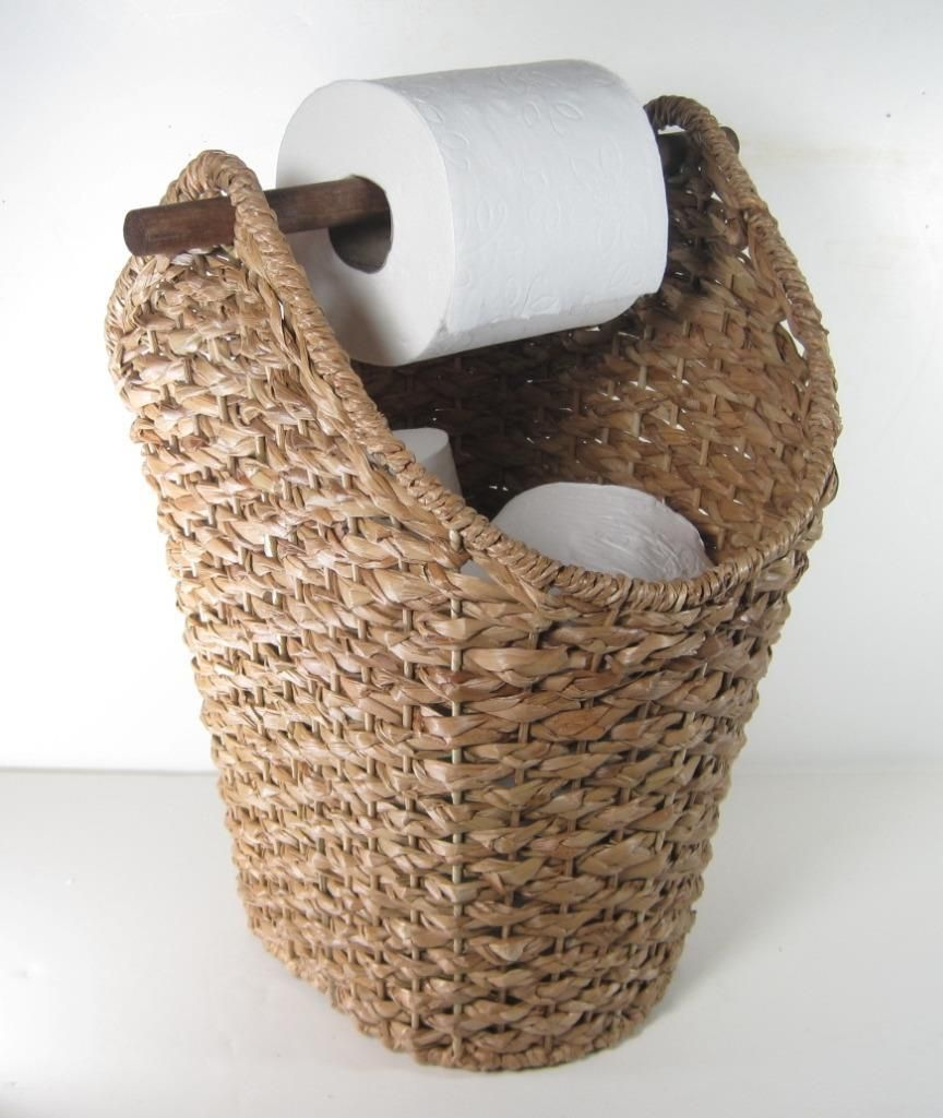 White tilt out clothes storage basket bin bathroom drawer ebay - Braided Rope Basket Toilet Paper Holder Rustic Country Style Bathroom Storage