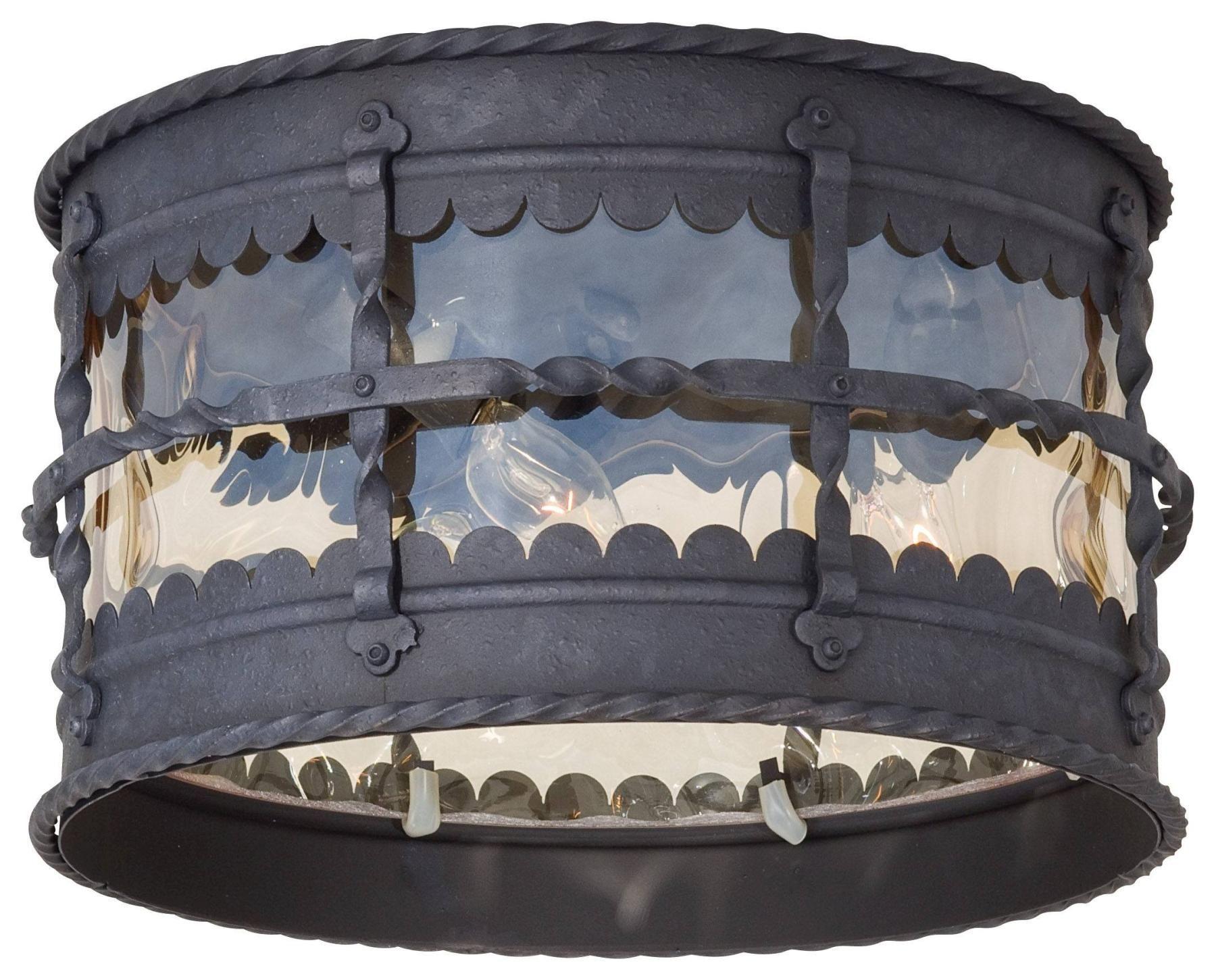 Minka Lavery The Great Outdoors 3 Light Flush Mount In Spanish Iron Textured Black Powder