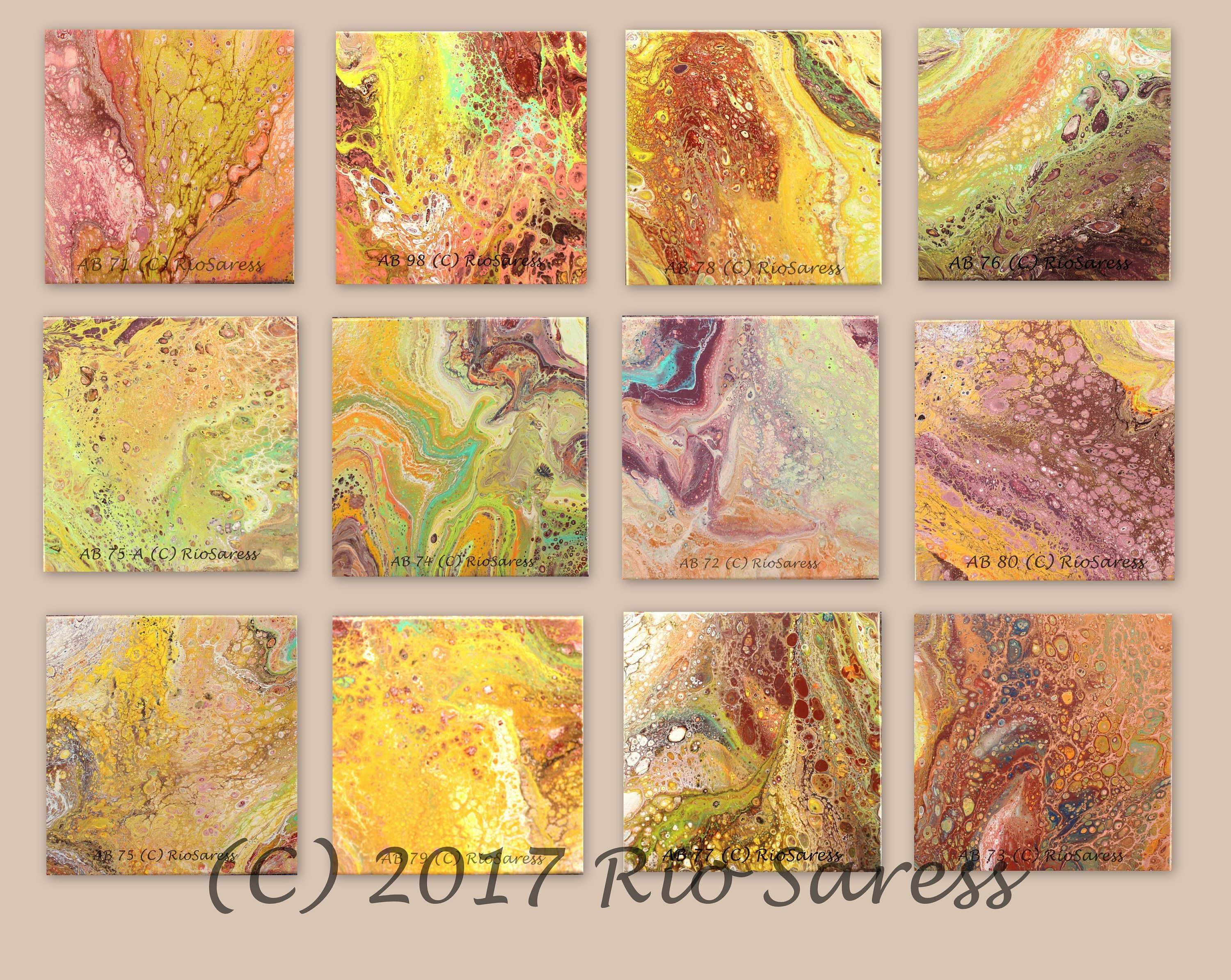 AB (080)- Contemporary Modern Abstract Art Southwest Yellow Purple ...