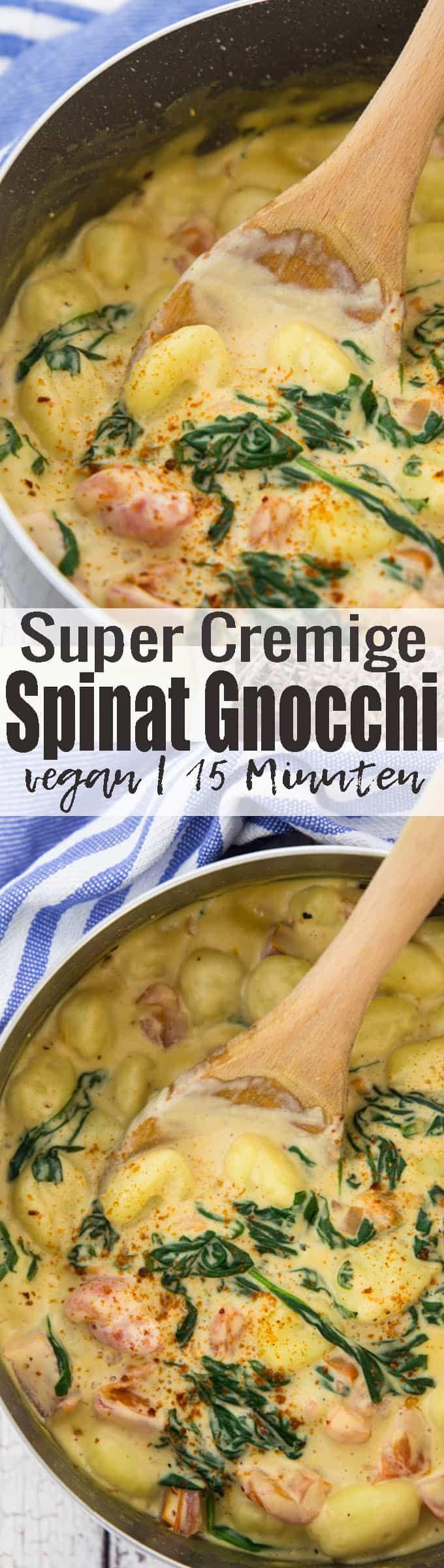 Vegane Gnocchi mit cremiger Spinatsauce