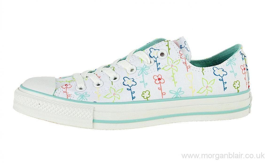 30b4feab903de6 2009 Women   Men Converse Chuck Taylor Floral Ox - White   Multi Shoes UK  509841f