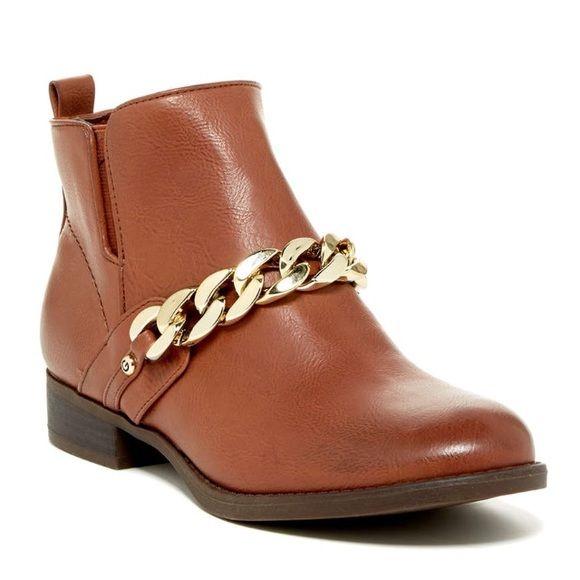 Guess cognac ankle boot G by Guess cognac ankle boot. Inside ankle zipper, rubber sole, man made upper. Chain detail. G by Guess Shoes Ankle Boots & Booties