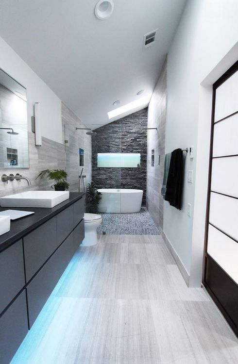 Beautiful Modern Bathroom With Granite Counter Tops, Grey Brick Wall And  Sliding Doors