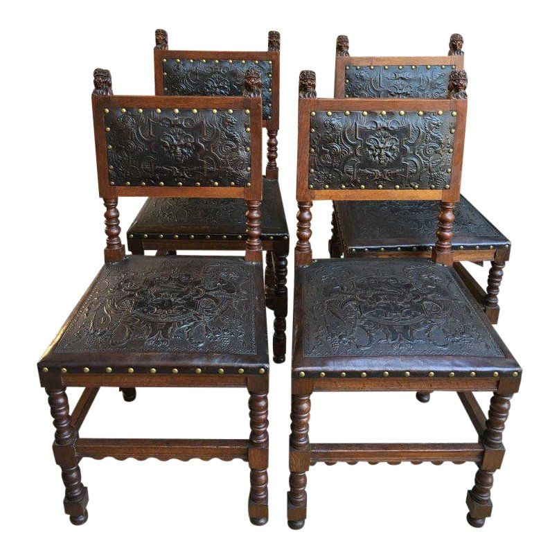 Direct from France Gorgeous set of 4 antique French carved ...