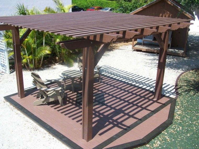 pergola de madera con base con plataforma - Pergola De Madera