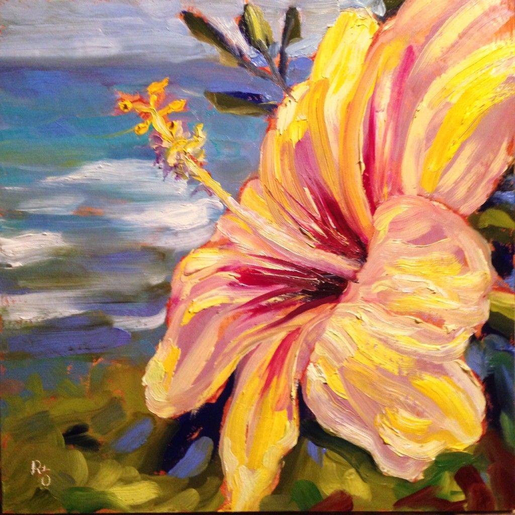 "pua aloalo yellow hibiscus 12"" x 12"" oil on 15"" cradled"