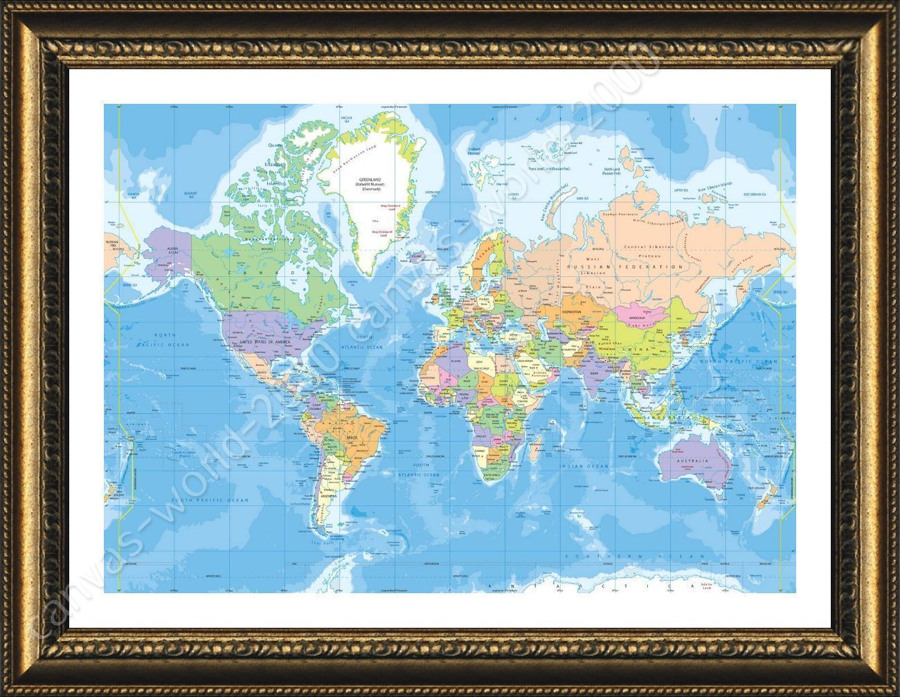 Poster political modern world map framed wall decor oil paintings prints framed poster political modern world map framed wall decor oil paintings prints gumiabroncs Gallery