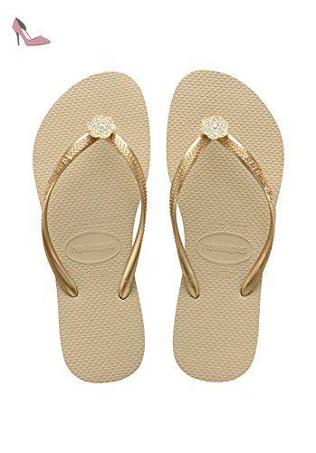 Slim Logo Metallic, Tongs Femme, Beige (Sand Grey/Light Golden), 37/38 EU (35/36 BR)Havaianas