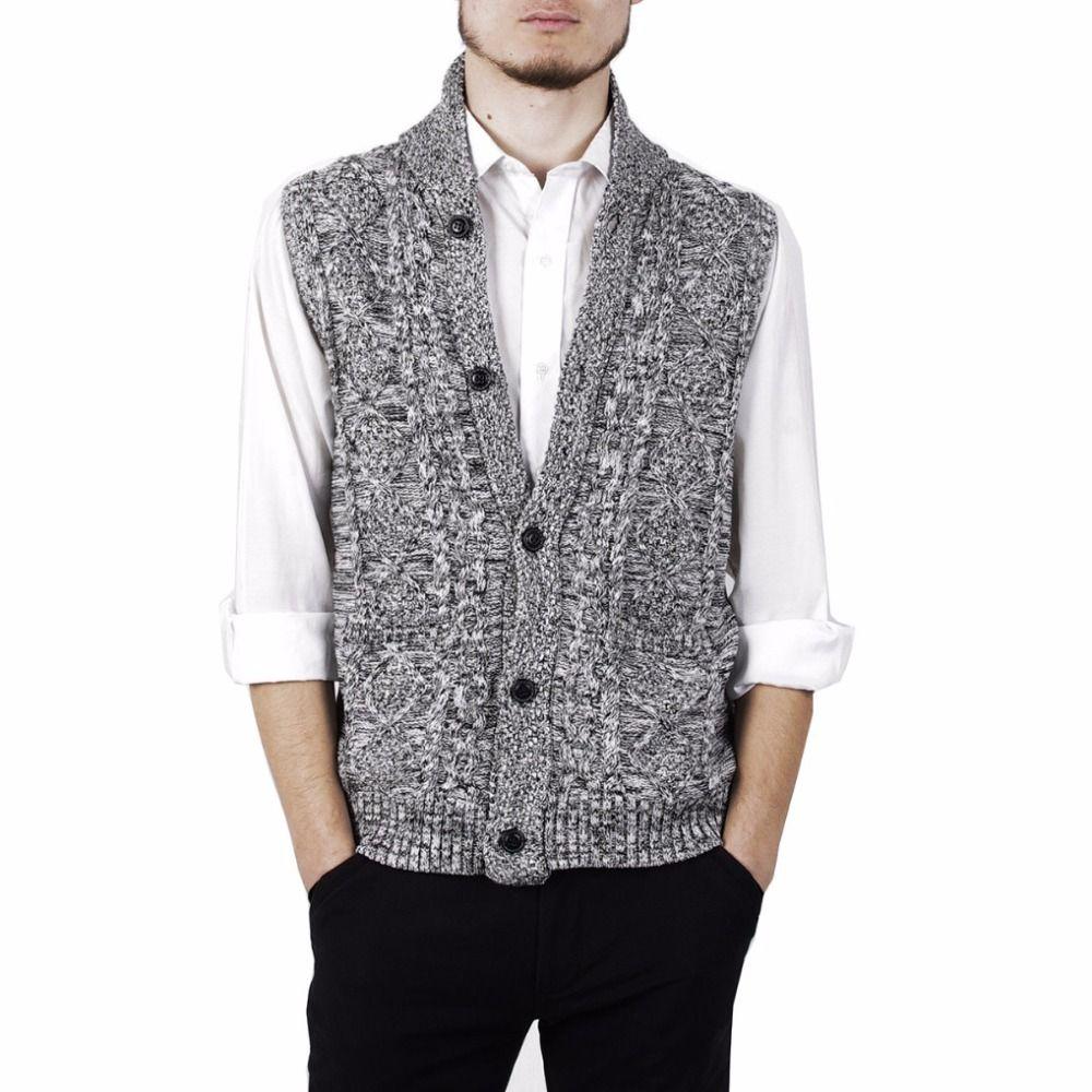 Autumn Winter Men Thick Vest Jumper Single-Breasted Gardigan ...