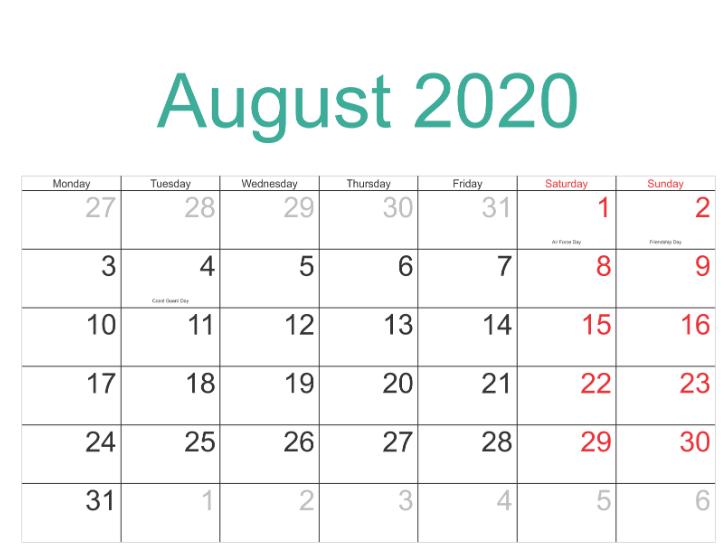 New Moon August 2020.August 2020 Calendar With Holidays Calendar June Free