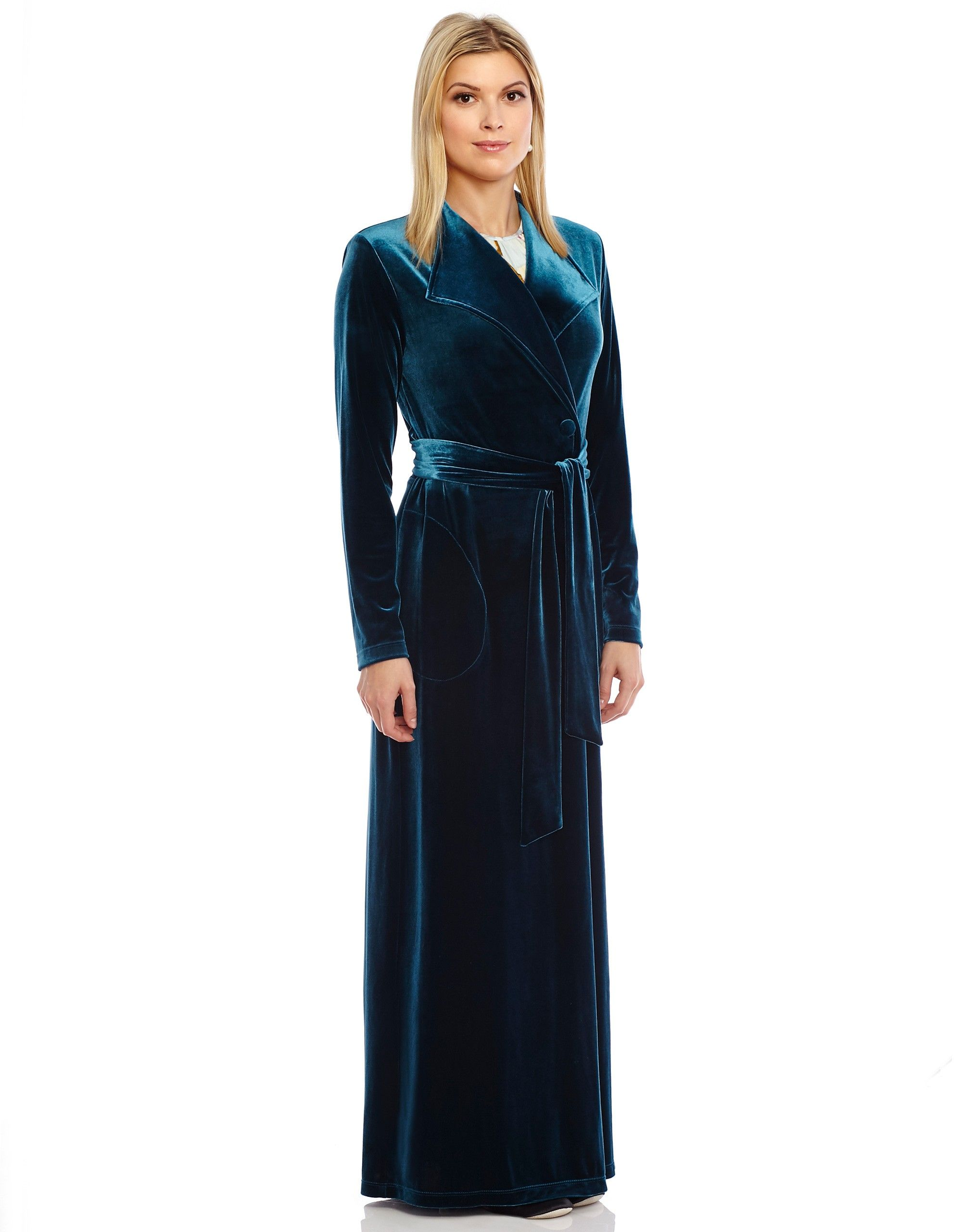 9292c00b85e Velvet Wrap Robe with Shirred Back - Morning Robes - Robes and Maxis at The Lingerie  Shop New York