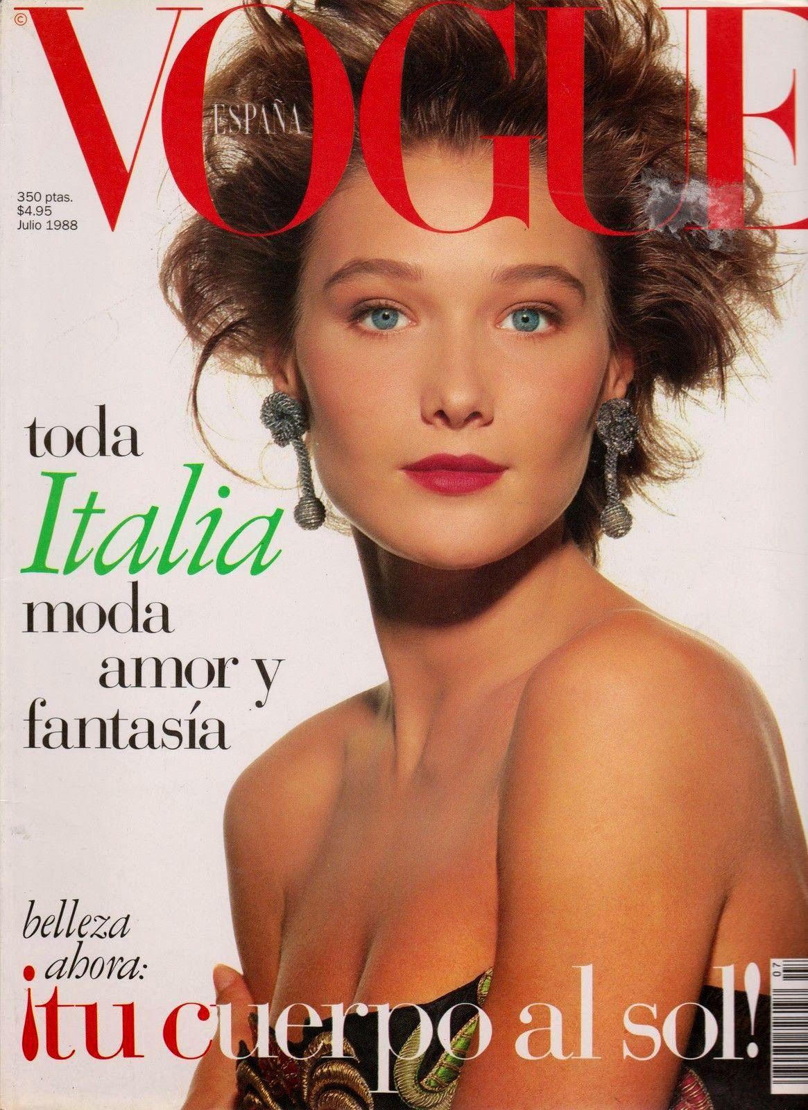 Carla Bruni Vogue Spain July 1988 Carla bruni, Vogue