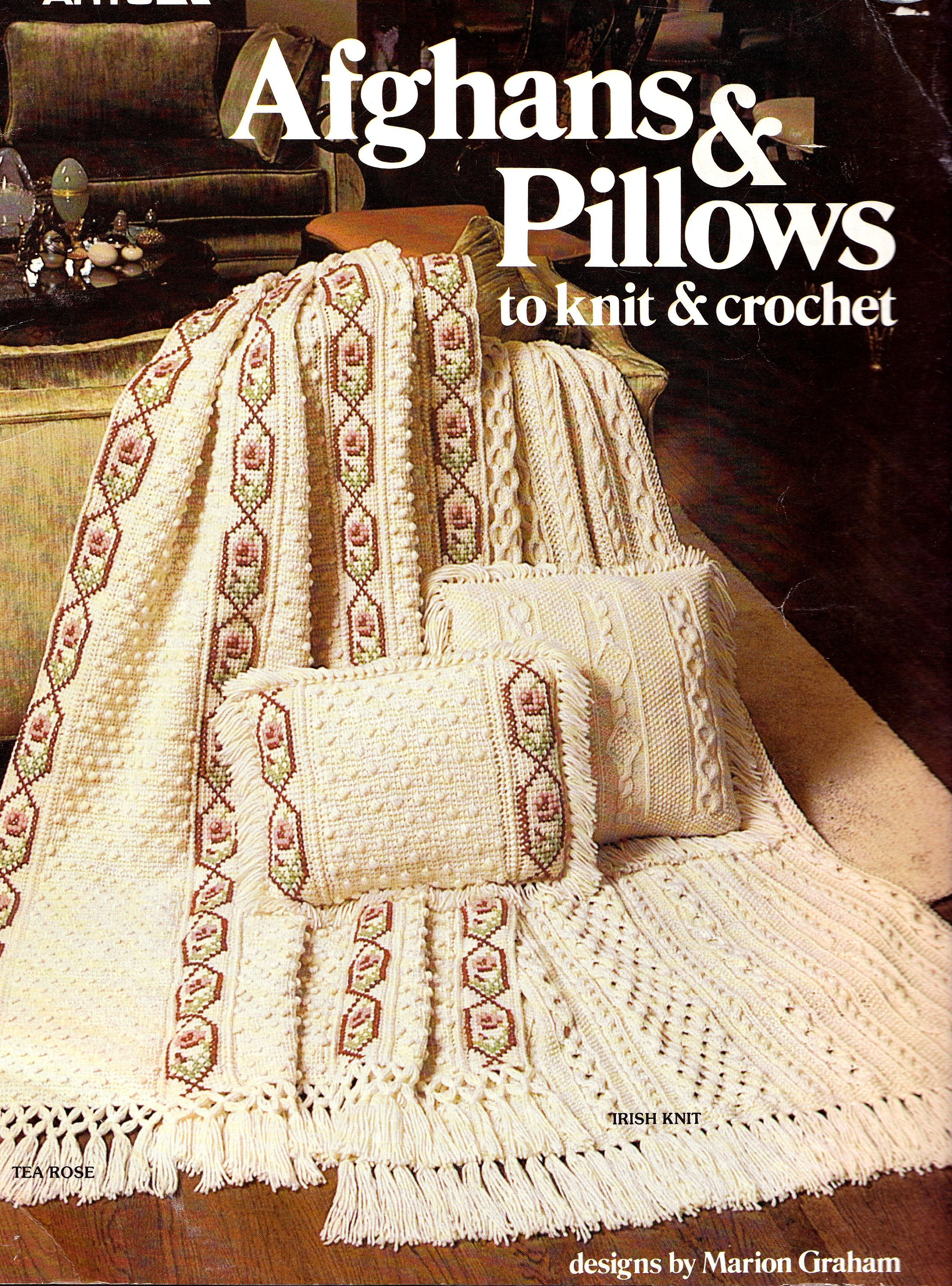 Afghans and Pillows to Knit and Crochet, Leisure Arts 149, Irish Knit  Afghan, Tea Rose Crochet Afghan, Sampler Afghan, Granny Squares by  OnceUponAnHeirloom ...