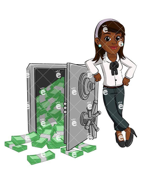 Black Woman Near Safe Vault Full Of Cash Vector Cartoon Clipart Friendlystock In 2020 Cartoon Cartoon Clip Art Business Women