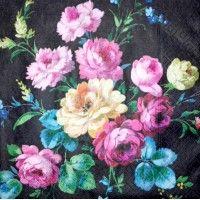 Servítka - Ruže na čiernom pozadí