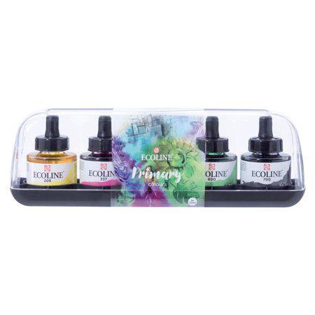 Ecoline Watercolour 30ml Pipette Jar Sets 5 Color Primary Set