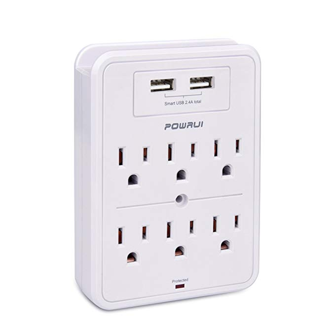 Amazon Com Surge Protector Powrui Usb Wall Charger With 2 Usb Charging Ports Smart 2 4a Total 6 Outlet Extend Outlet Extender Usb Wall Charger Wall Charger