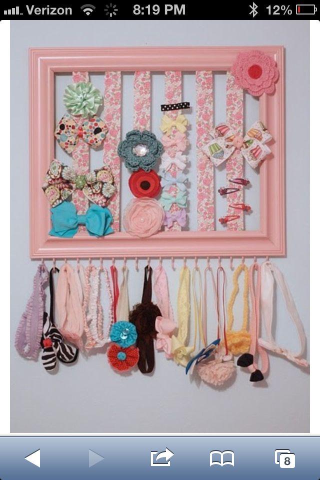 Bow & Headband storage 1)Paint a decorative frame 2)run vertical ...