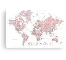 World map adventure awaits in dusty pink and grey | Poster images