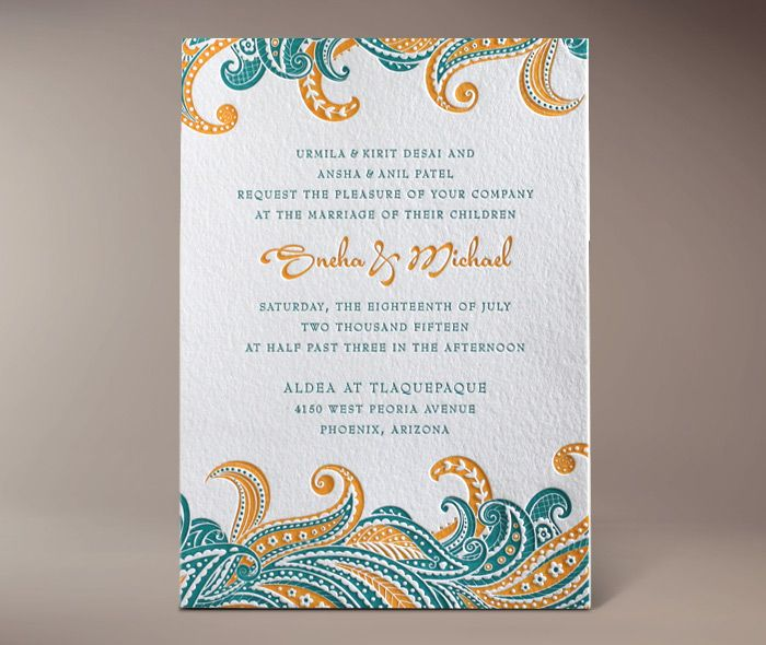 sneha letterpress invitation