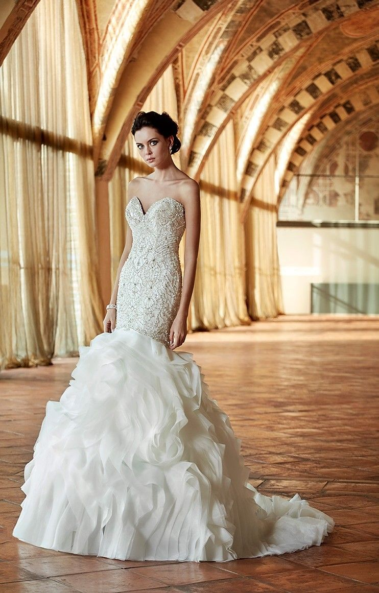 Indo western wedding dress for women  Eddy K Couture Style CT Mermaid Sweetheart Organza  Beading