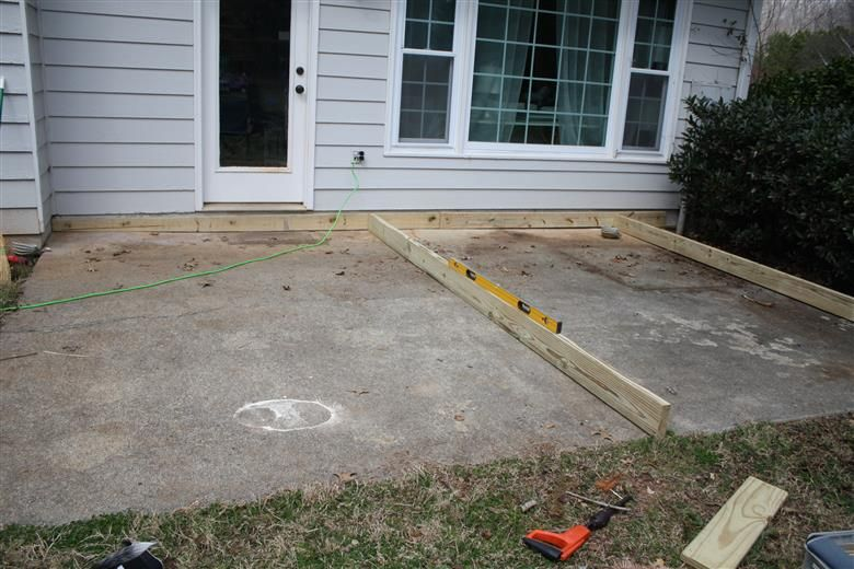 Fast DIY Deck, To Cover Slanting Cement Patio