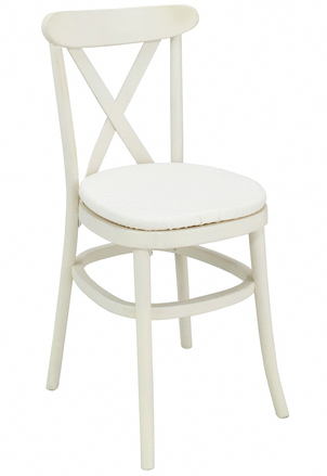 French white cross back chair #chairsforrent | Cinema Chairs
