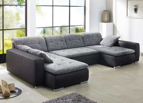 sofa couch ferun 365 200 185cm webstoff anthrazit kunstleder schwarz wohnlandschaft schlafsofa. Black Bedroom Furniture Sets. Home Design Ideas