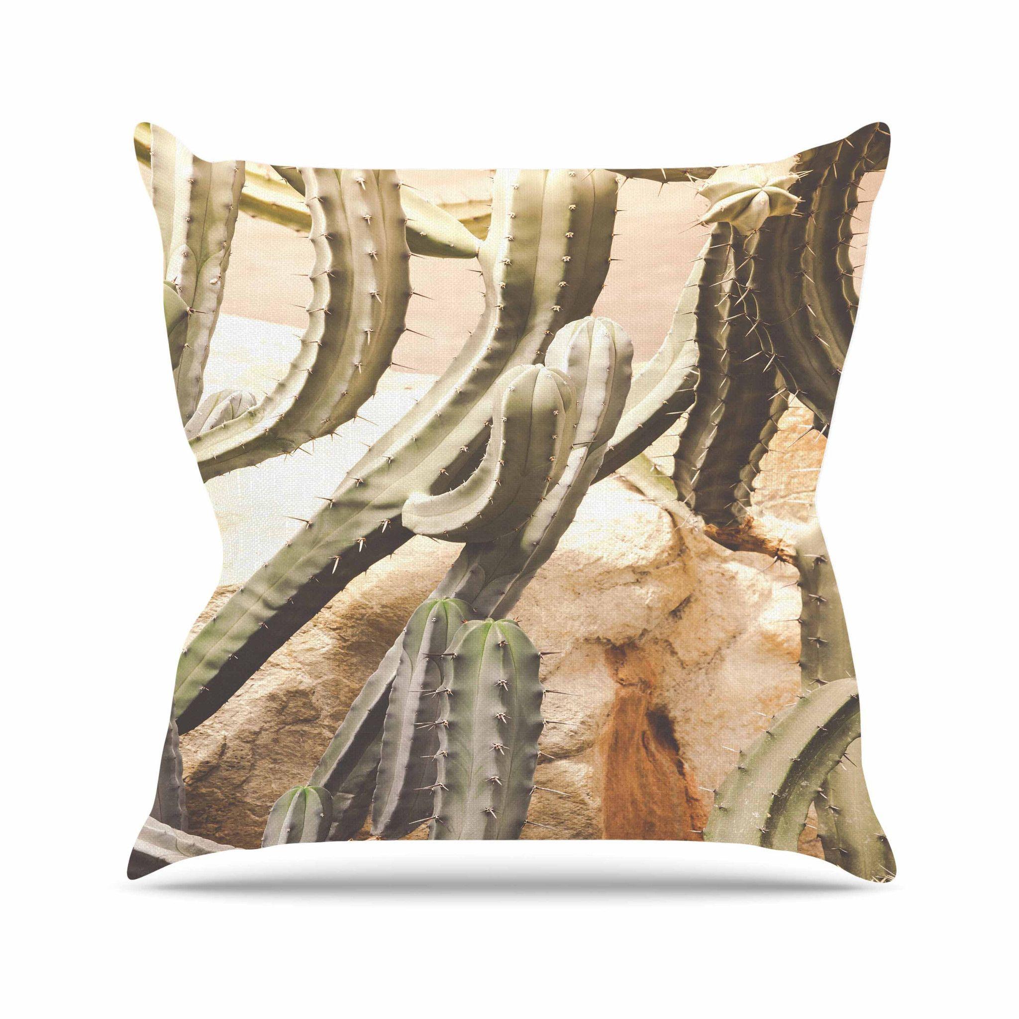 """Ann Barnes """"Cactus Jungle"""" Green Beige Throw Pillow"""