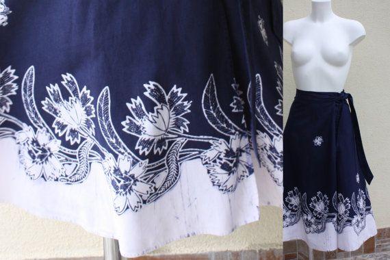 Vintage BATIK WRAP skirt genuine wax immersion by PitzicatVintage, $34.00