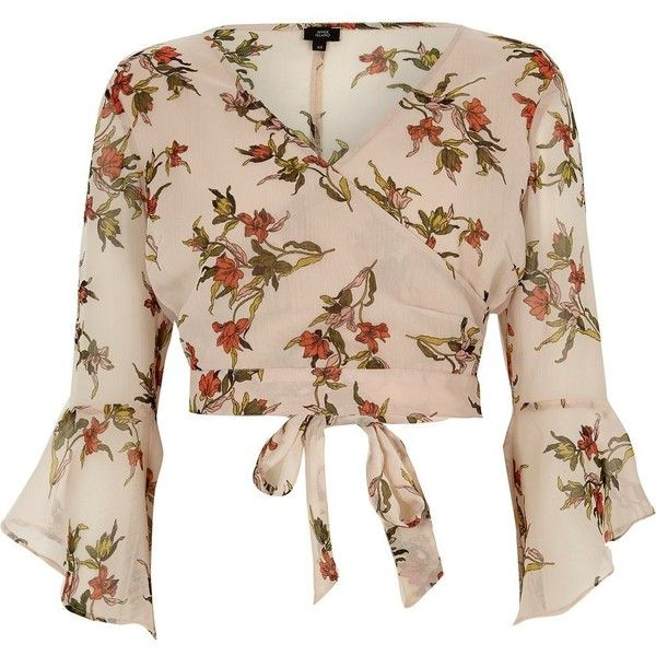 dbf41e4462 River Island Cream floral print wrap frill sleeve crop top ( 56) ❤ liked on  Polyvore featuring tops
