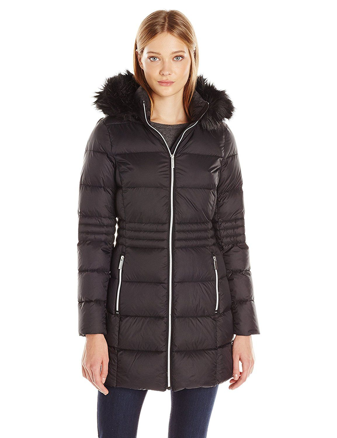 French connection mid length packable down womens
