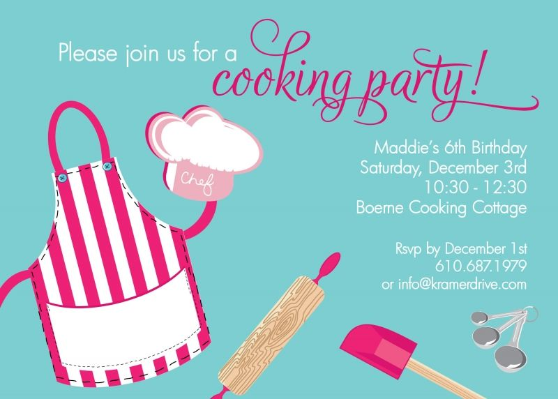 Cooking Party Mayas birthday Pinterest – Kids Cooking Party Invitations
