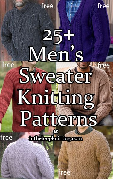Men S Sweater Knitting Patterns Cardigans Pullovers Vests And