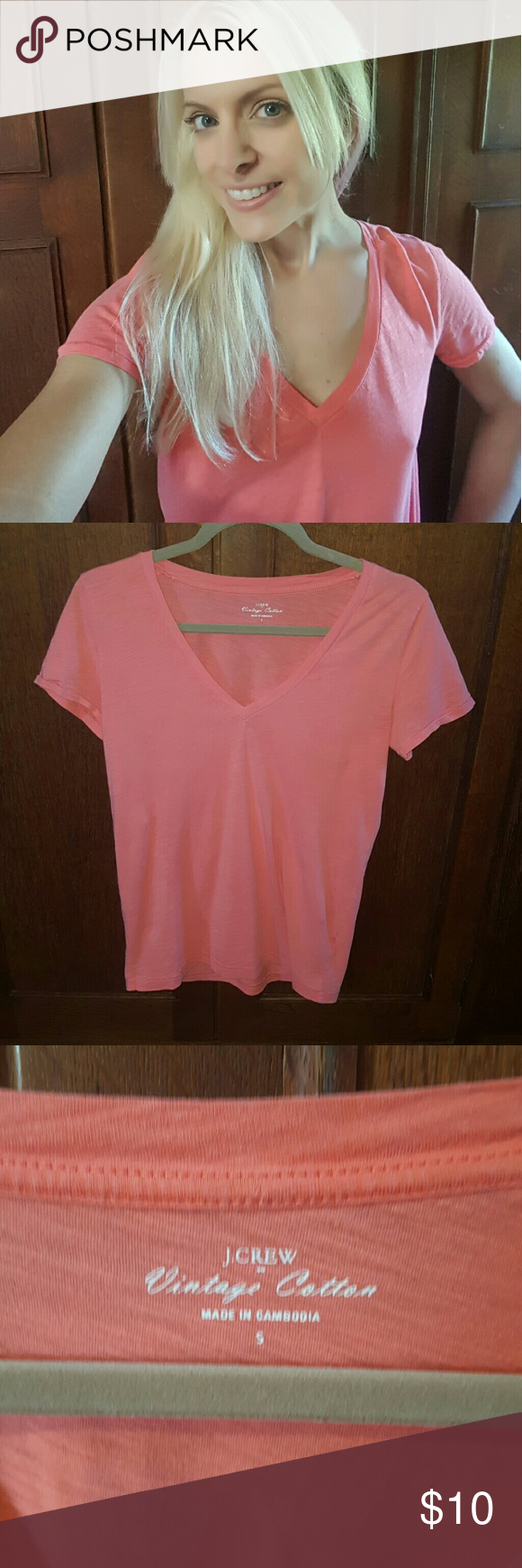 J. Crew Vintage Cotton V-neck Tee 👍 Reasonable offers  👍 Questions welcome 👍Shipping ASAP 👍 Bundles 15% off 3 or more 🚫 Trades 🚫 Lowballing 🚫 Off-app/Paypal sales  Good condition! Roomy fit, worn in look, comfy. Salmon pink J. Crew Tops Tees - Short Sleeve