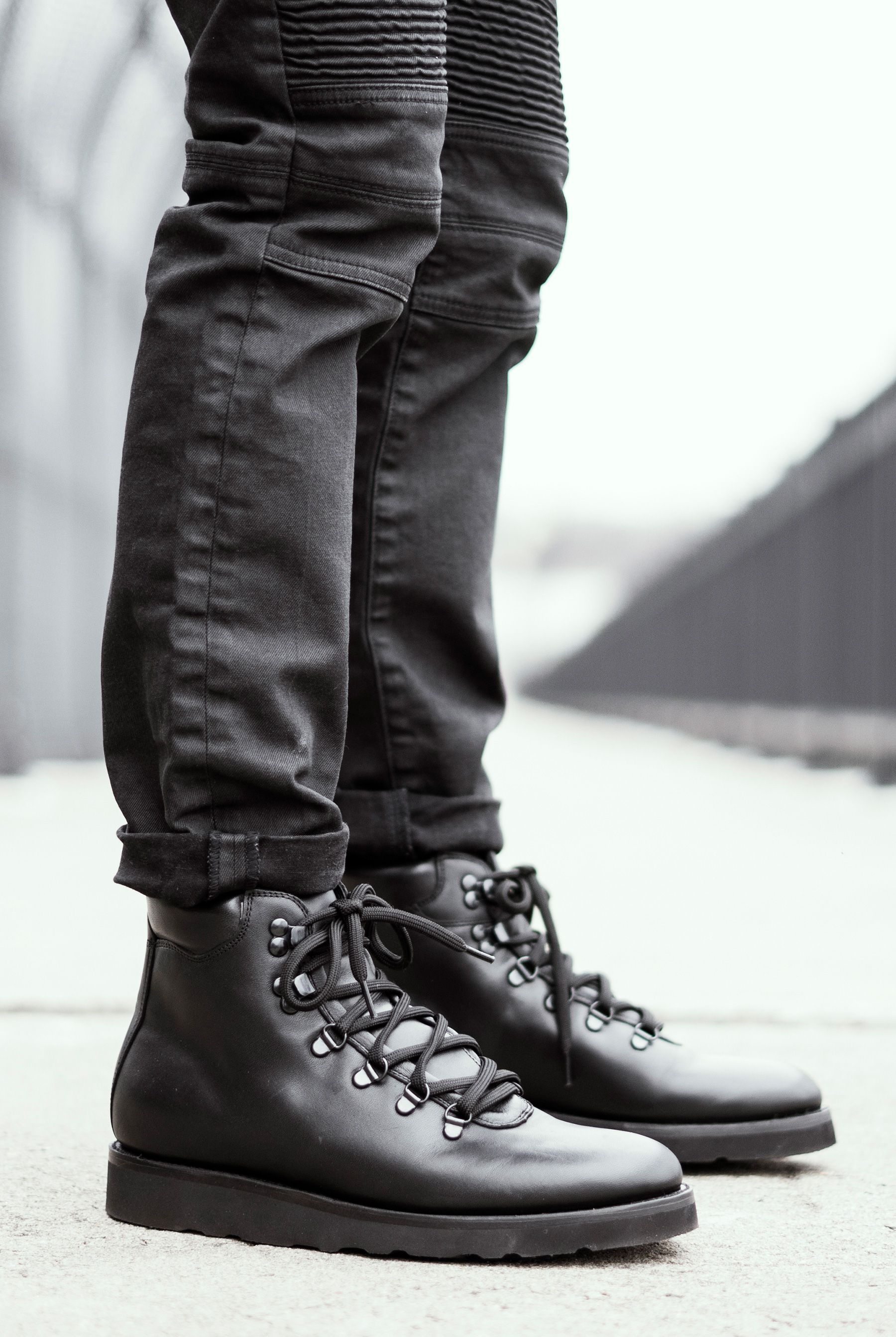 Black Leather Commander Hiker Boot