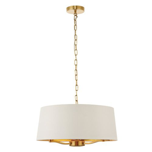 Shop 3 Light Drum Chandelier in Iron Frame and Linen Shade